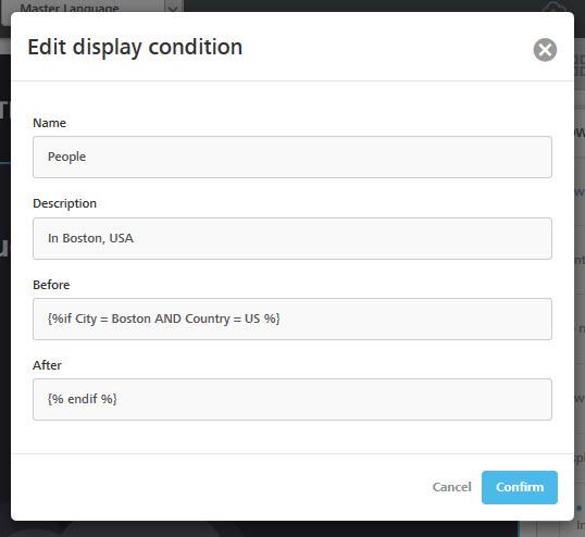 Edit custom display condition
