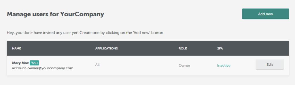Manage users screenshot