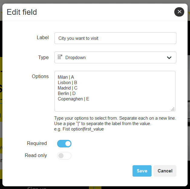 Configuring a dropdown field