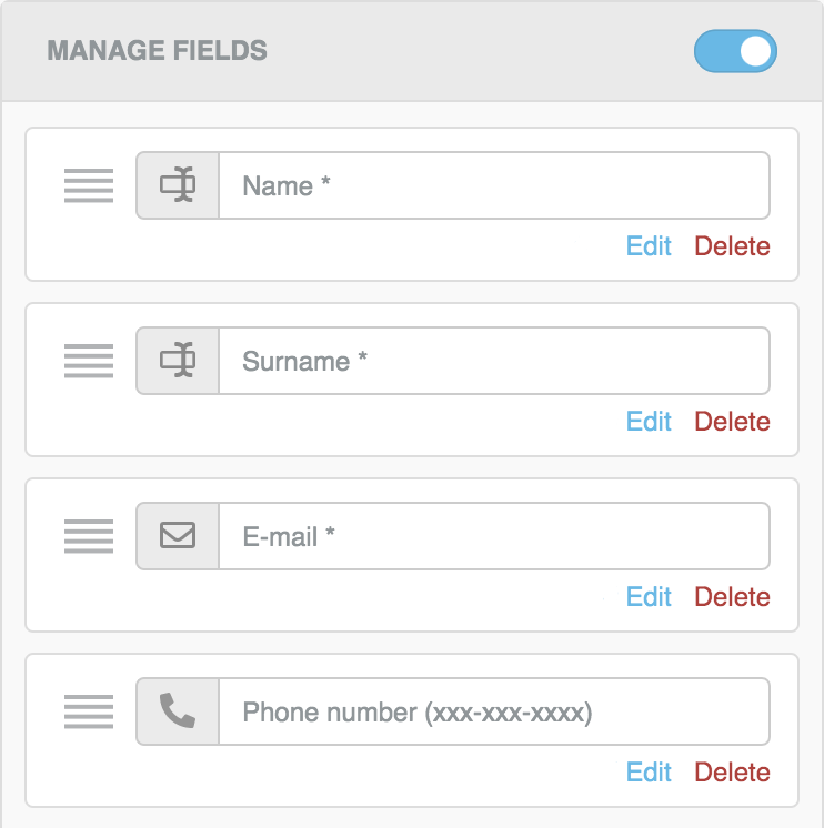 Manage fields panel