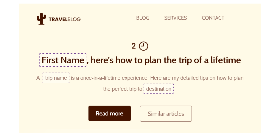 Example of smart merge tags inside an email